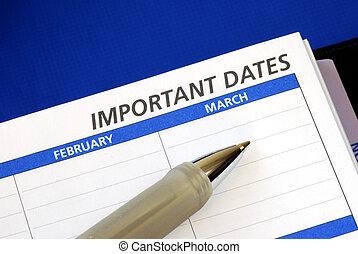 escribir, fechas, algunos, abajo, cuaderno, importante