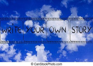escribir, historia, poseer, su, filmstrip