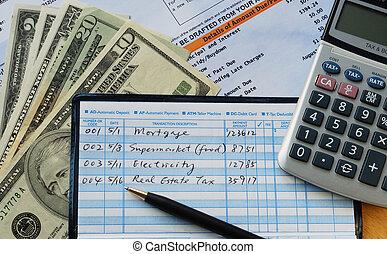 escribir, marca, algunos, pagos, cheques