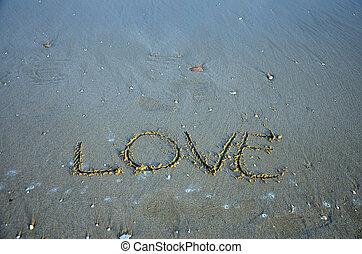 escribir, palabra, amor, en la playa