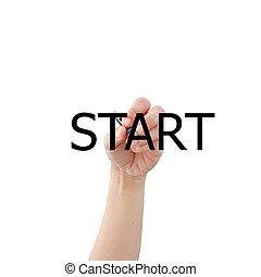 escribir, planificación, whiteboard, mano, estratégico