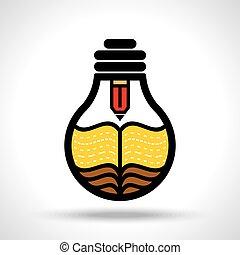 escribir, un, creativo, idea