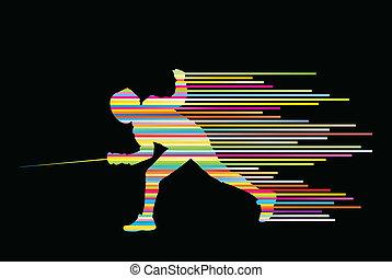 escrime, jeune, combattants, vecteur, épée, actif,...