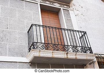 escrime, openwork, noir, forgé, espagnol, balcon