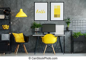 escritório, área, com, amarela, decoração