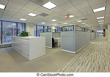 escritório, área, com, cubículos