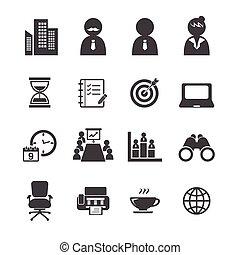 escritório, ícone, jogo