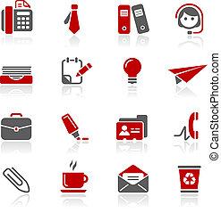 escritório, &, ícones negócio, /, redico