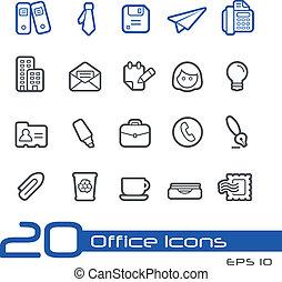 //, escritório, ícones negócio, s, linha