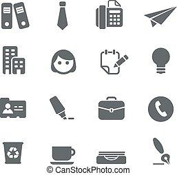 escritório, ícones negócio