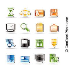 escritório, ícones simples, negócio