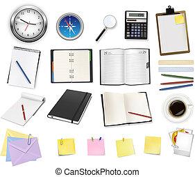 escritório, algum, supplies., negócio