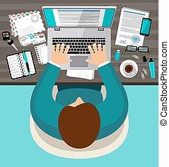escritório, apartamento, workspace, desenho