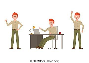 escritório, apontar, admoestar, personagem, illustration., vermelho, gritando, dedo, ficar, caricatura, calças, cabelo, escrivaninha, macho, homem, louco, vetorial, verde, sentando, jogo