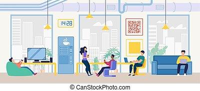 escritório, aquilo, conceito, centro, coworking, companhia, vetorial