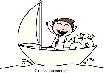 escritório, boating, dinheiro, -, ilustração, saco, vetorial, pretas, rir, menina, desfrutando, caricatura, retro
