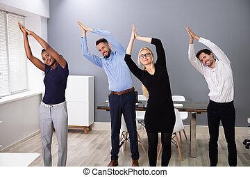 escritório, businesspeople, ioga
