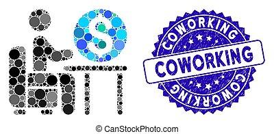 escritório, colagem, ícone, banqueiro, textured, coworking, selo