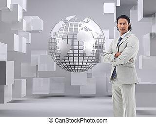 escritório, composto, cruzado, imagem, trabalhador, braços,...