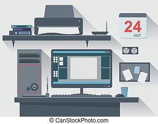 escritório, computador, criativo, workspace