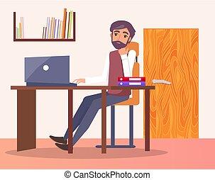 escritório, computador, local trabalho, digitando, estante, homem