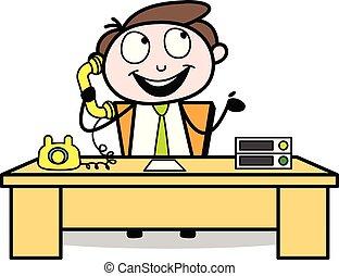 escritório, comunicar, -, telefone, ilustração, vetorial, ...