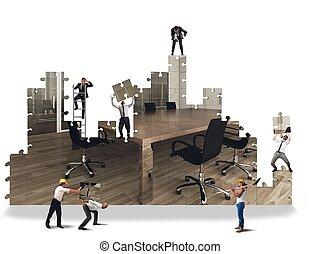 escritório, construir