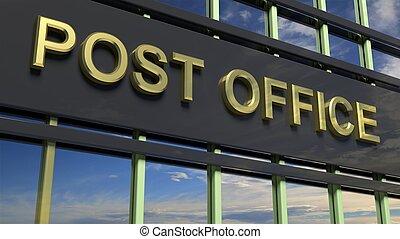 escritório, copo., refletir, closeup, poste, sinal, céu construindo