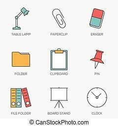 escritório, cor ferramentas, linha, ícones