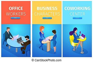 escritório, coworking, trabalhadores, caráteres, negócio