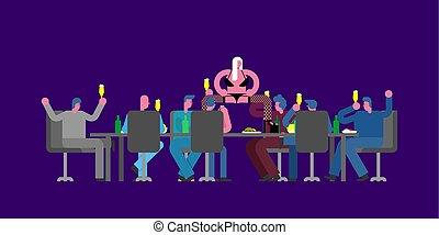 escritório., dançarino, feriado, striptease, partido, colegas, tabela, stripper, work., woman., incorporado, grande