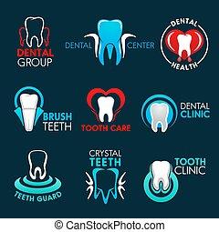 escritório, dental, clínica, dente, símbolos, odontólogo, ou