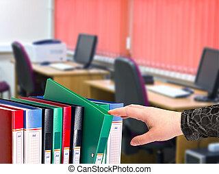 escritório, documento, pastas, ficar, uma fileira