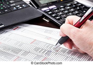 escritório, documentos, trabalhando, mulher negócio