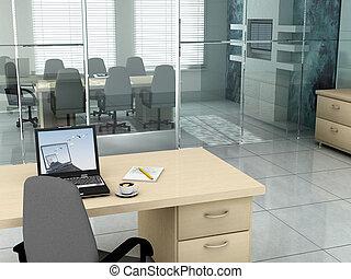 escritório, em, a, manhã