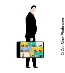 escritório, em, case., móvel, local trabalho, em, suitcase., gerentes, trabalhar, computer., negócio, situation., saliência, e, subordinado, relationship., tabelas, e, arquivo, cabinet., homem negócios, no trabalho