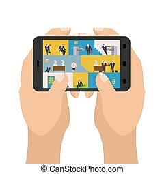 escritório, em, smartphone., local trabalho, em, telefone., gerentes, em, work., negócio, situation., cabeça, subordinado, relationship., tabelas, e, arquivo, cabinet., homem negócios, em, trabalho