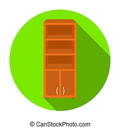escritório, estante de livros, ícone, em, apartamento, estilo, isolado, branco, experiência., mobília escritório, e, interior, símbolo, estoque, rastr, illustration.