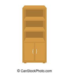 escritório, estante de livros, ícone, em, caricatura, estilo, isolado, branco, experiência., mobília escritório, e, interior, símbolo, estoque, bitmap, rastr, illustration.