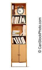 escritório, estante de livros, e, despertador