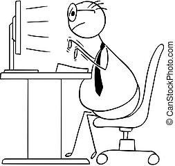 escritório, excesso de peso, trabalhador, ilustração, computador desktop, digitando, caricatura