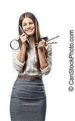 escritório, executiva, sobre, materiais, segurando, mantém, head., cutout
