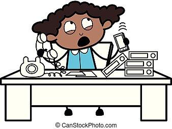escritório, falando, clientes, -, ilustração, telefone, vetorial, pretas, retro, menina, caricatura