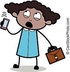 escritório, falando, -, ilustração, lembrar, telefone, enquanto, vetorial, pretas, retro, menina, caricatura