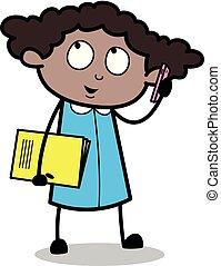 escritório, falando, -, ilustração, mão, telefone, vetorial, pretas, retro, segurando, menina, livro, caricatura