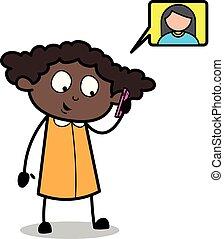 escritório, falando, -, ilustração, telefone, vetorial, pretas, retro, menina, caricatura, amigo