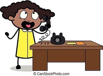 escritório, falando, -, ilustração, telefone, vetorial, pretas, retro, menina, caricatura