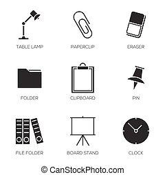 escritório, ferramentas, ícones