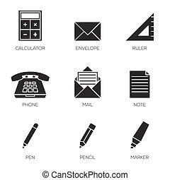 escritório, ferramentas, ícones, vol, 2