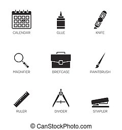 escritório, ferramentas, ícones, vol, 3